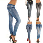 Women Lady Plus Size High Waist Denim Printed Leggings Pants Jeggings