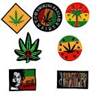 Embroidered Iron On Patches Badges MARLEY GANJA LEAF PEACE SMOKING