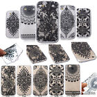 Black Mandala Henna Lace Flowers Soft TPU Protective Case Cover For Cellphones