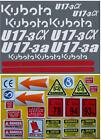 Decal Sticker Graphics set for KUBOTA U17-3a Mini Digger Pelle Bagger