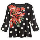 Women's Polka Dot Corsage Knit Top - 3/4 Sleeve Flowing Shirt