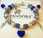 Authentic PANDORA Sterling Silver BRACELET with 22 European Charms & Beads #29