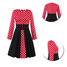 Vintage Women 1950s Lindy Bop Polka Dot Dress Long Sleeve Business Clothes