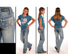 Fast Ship! Rock & Roll Cowgirl Girls Youth Sparkling Silver Bootcut Jean G5-3652