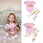 Family Matching Baby Girl Big/Little Sister T-shirt Top Romper Pants Outfits Set