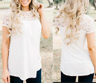 Fashion Womens Summer Lace Vest Top Short Sleeve Blouse Casual Tank Tops T-Shirt