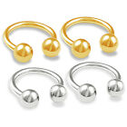 4pcs 16g Circular Barbell Cartilage Nose Eyebrow Rook Helix Gold Anodized 356