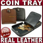 Mens Gents REAL LEATHER COIN TRAY change holder purse wallet black brown ladies