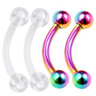 4pcs 16g Curved Barbell Lip Tragus Forward Helix Rook Rainbow Flexible Stud 421