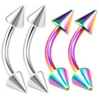 4pcs 16g Curved Barbell Tragus Eyebrow Lobe Helix Rook Rainbow Steel Spike 422