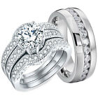 His and Hers Wedding Rings Halo Engagement Sterling Silver Stainless Steel Set
