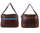 Unisex Brown Faux Leather Messenger Bag, School Work College, A4 Files Laptop