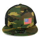 Small Yellow Side American Flag Embroidered Patch Camo Flat Bill Mesh Cap