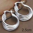 Womens 925 Sterling Silver Plated Crystal Pearl Hoop/Drop Ear Stud  Earrings