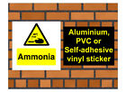 1037 Ammonia sign weatherproof Aluminium Plaque PVC or Vinyl Sticker