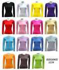 LADIES FULL-SLEEVE COTTON PLAIN T-SHIRT CREW NECK TOPS WITH