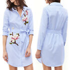 Womens Floral Embroidered Stripe Ladies Long Sleeve Shirt Dress Mini Dress M-XL