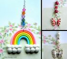 RAINBOW OR BUTTERFLY CAR REAR VIEW MIRROR DANGLE CHARM CHAIN HANGING ORNAMENT