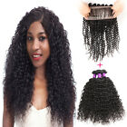 360 Lace Frontal Closure with 3 Bundles Kinky Curly Peruvian Virgin Hair 8A