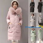 Fashion Womens Hooded Padded Puffer Outwear Winter Jacket Long Down Cotton Coat