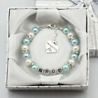 Personalised Girl baby Gift Charm Bracelet Daughter Sister niece blue with box