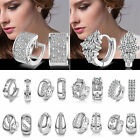 P Fashion Women's Crystal 925 Silver Plated Ear Stud Hoop Earrings Jewelry Gifts