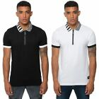 Fremont & Harris Zip Polo Shirt Plain Casual Sporty Striped Collar Branded Top