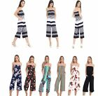 Womens Ladies Bardot Floral Stripe Plain Jumpsuit Playsuit Dress Plus Size 8-24