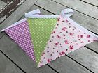 Cotton Bunting Handmade Girls Bedroom Pretty Pink Gingham Floral Pistachio Spot