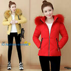 UK Winter Women Down Cotton Warm Jacket Slim Short Fur Collar Hooded Coat Parka
