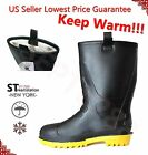 Mens Black Rubber Rain Boots Shoes Warm Lined Insulated Rain Shoes
