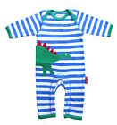 Toby Tiger Dino Applique Cute Embroidery Baby Boys Organic Sleepsuit Playsuit