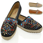 WOMENS FLAT DIAMANTE ESPADRILLES PUMPS LADIES SLIP ON HOLIDAY CASUAL SHOES