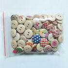 100pcs 15mm Mixed Round Pattern 2 Holes Wood Buttons Sewing Scrapbooking DIY New