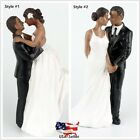 Romantic Black Bride and Groom Wedding Couple Figurine Dancing Dip Cake Topper