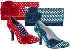 Ruby Shoo Issy Court Shoe & Matching Milan Bag Blue Floral / Red Spotty