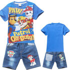 Boys Paw Patrol blue top tee denim shorts set outfit summer size2-6