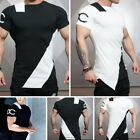 New Men's Athletic Gym T Shirts Fitness Irregular Musclefit Cut Off Casual Tee