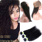 8A Malaysia Kinky Curly 3 Bundles Human Hair With 360 Full Lace Frontal Closure