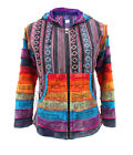 New Bright Rainbow Hippie Hooded Jacket Gheri Cotton Unisex