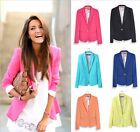Womens Ladies Candy Color Stylish Casual Slim Suit Jacket Blazer Top Outwear