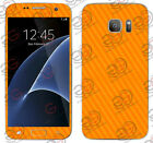 Samsung Galaxy S7 S7 Edge Exclusive Tangy Orange Carbon Skin for Front Back
