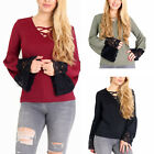 Womens Ladies Cross Strap Details V Neck Long Bell Lace Sleeves Top Blouse