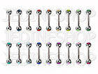 Straight Barbell Tongue Nipple Bar - 1.6mm (14g) - 6mm To 20mm - Double Gem