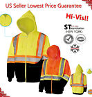 Hi Vis Hoodies ZipFront Sweatshirt Class 3 Safety Road Work HIGH VISIBILITY