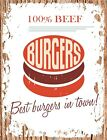 VINTAGE STYLE RETRO METAL PLAQUE ;100% Beef BURGERS. Ad/Sign