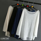 LUXCOO Autumn Casual Women's Sexy Collar Bat Loose Long Sleeve T-Shirt Tops