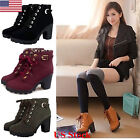 US New Womens Ladies Platform PU High Heel Ankle Boots Lace Up Punk Buckle Shoes