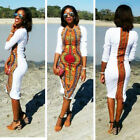 New Fashion Women Summer Casual Deep O-Neck Traditional African Print Party Dres