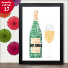 Personalised Prosecco Word Art Gifts for Best Friend Friends True Friendship BFF
